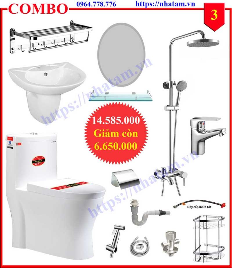Combo 3 trọn bộ thiết bị phòng tắm cao cấp