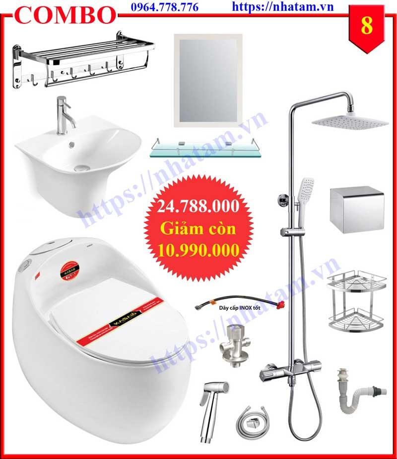 Combo 8 trọn bộ thiết bị phòng tắm cao cấp